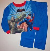 BATMAN VS SUPERMAN Boys 4 5 6 7 8 10 12 Flannel Pjs Set PAJAMAS Shirt Pants