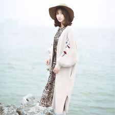 Veste cardigan long ample gilet brodé vintage retro Mori Girl Shabby chic boheme