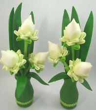 Thai Handmade Clay Flower Artificial Lotus Plants Fake Arrangement in Green Vase