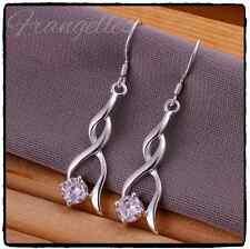925 Sterling Silver Twisted Dangle Drop CZ Cubic Zirconia Earrings, Bridal