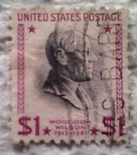 1938 U. S. Scott 832 Woodrow Wilson one used $1 stamp off paper