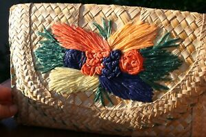 Vintage straw clutch purse woven bag straw embroidered flowers Easter Tropical