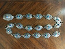 """Vintage Navajo Sterling Silver Turquoise Coral & Lapis Concho Belt 41"""""""