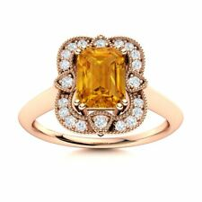 Certified Vintage Style Citrine Engagement Ring w/ SI Diamond in 14k Rose Gold
