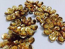 Confezione da 5 Oro con Perline Fiore Motivi, APPLIQUE, Natale (36mm circa in dimensioni)