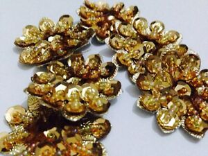 Pack Of 5 Gold Beaded Flower Motifs , Applique, Xmas (36mm Approx In Size)