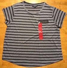 NWT Ellen Tracy Women's Gray & Black Striped Pocket Shirt - Size: XL