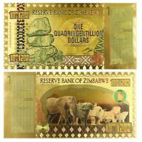 Zimbabwe 1 Quadringentillion Dollars Gold Foil Banknote 100 Trillion Series