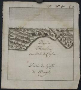 MATECALO BAY BATTICALOA SRI LANKA 1725 ANONYMOUS ANTIQUE COPPER ENGRAVED MAP