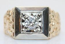 14K  Heavy Yellow/White Gold .65 Carat European Cut Diamond Solitaire Men's Ring