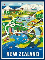 New Zealand  Vintage Illustrated Travel Poster Print  Framed Canvas
