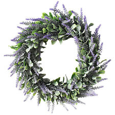 Artificial Silk Flower Lavender Fake Wreath Nature Purple Plant Home Door Decor