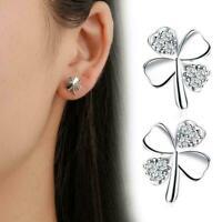 Women Lady Jewelry Silver Four-leaf Clover Rhinestone Earrings Crystal Stud U2M1