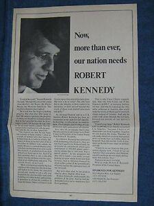1968 Robert F Kennedy Paper Poster/ Flier Calif ~To Help Negro Mex-American Etc.