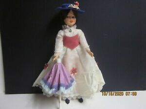 """Vintage  12 """" MARY POPPINS Doll w/Umbrella; Dress, Shoes & Hat"""