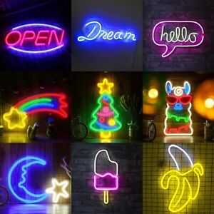 USB LED Neon Sign Light Beer Bar Bedroom Wall Decor Art Xmas Party Holiday Gifts