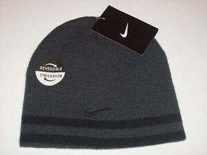 Nike Boys Hat Cold Weather Beanie Anthracite Black Swoosh Reversible 4-7 New