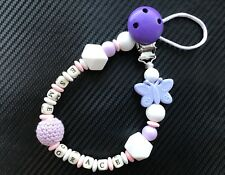 Personalised BPA FREE Silicone and Wood Dummy Clip Teether Holder for boys girl