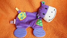 """Nuby Purple Cow Hippo Comforter Blankie Doudou Activity Toy Teether 8"""""""