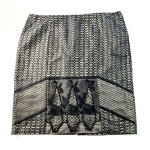 JACQUI E Womens Black Patterned Embroidered Skirt Size 18
