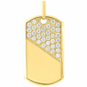 "Real 10K Yellow Gold 5.7 Grams Mini Dog Tag Army Military Pendant 1.75"" Charm"
