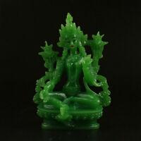 13CM Tibet Tibetan Buddhism Resin Jade Lotus Green Tara Kwan-yin Guan Yin Statue