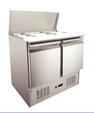 Commercial Saladette Fridge Pizza Prep Table Refrigerator Double Door 220L