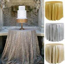 """48"""" Round Sparkly Sequin TableCloth Cover Glitter For Wedding Party Restaurant"""