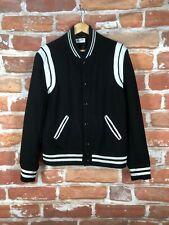 $3k+ SAINT LAURENT XL US 46 IT 56 Hedi Leather Trim Varsity Teddy Bomber Jacket