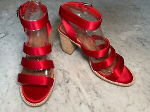 Jeffrey Campbell Free People Red Satin Strap Sandal Heel Shoes Size/Fit 9.5 40.5
