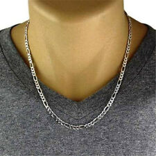 Men's Silver Plated Jewelry Men Italian Figaro Link Chain Necklace 30 inch 2mm