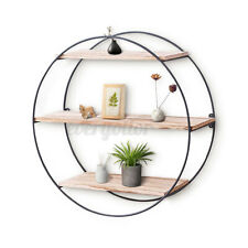 3-Tier 19In Floating Wooden Wood Wall Shelf Wood Shelves Hanging Round Decor USA