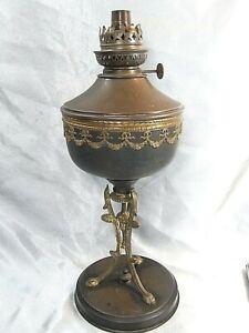 RARE GRANDE LAMPE PETROLE EMPIRE RESTAURATION PIED BOUC BRONZE HUILE OIL LAMP