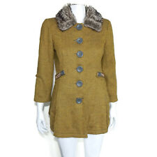 FREE PEOPLE Chartreuse Green Gray Faux Fur Collar Big Button Coat Jacket sz4