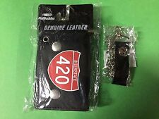 RED INTERSTATE 420 BLACK LEATHER NEW TRIFOLD MOTORCYCLE BIKER WALLET W CHAIN