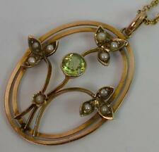"""Art Nouveau 9ct Gold Peridot and Seed Pearl Ladies Pendant & 17"""" Chain p1112"""