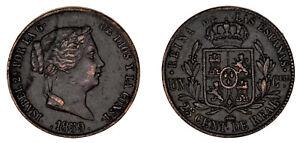 25 CÉNTIMOS DE REAL. Cu. ISABELLA II - ISABEL II. 1859. SEGOVIA. VF+ / MBC+.