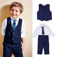 4PCS Baby Junge Gentleman Anzug Outfits T-shirt Hose Weste Krawatte 2-7 Jahre
