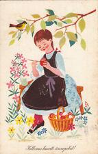 Cute girl pencil Easter eggs bird fantasy vintage postcard