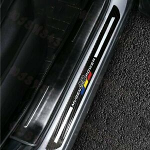 JDM Mugen Carbon Fiber Car Door Welcome Plate Sill Scuff Cover Decal Sticker X2