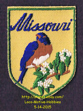 LMH PATCH Badge   MISSOURI  State Bird BLUEBIRD  Flower HAWTHORN  MO  tan used