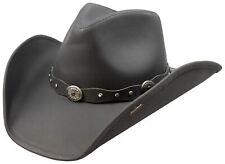 Stetson Roxbury Black Distressed Shapeable Leather Cowboy Western Hat - Large