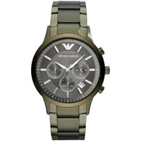 *NEW* MENS EMPORIO ARMANI ARMY GREEN STEEL CHRONO WATCH - AR11117 - RRP £399