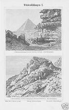 Stich v. 1897 Wüstenbildungen Gizeh  Kairo Wadi Tarfeh
