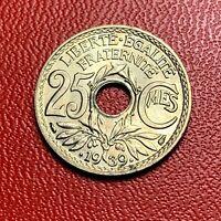 #3824 - RARE -  25 centimes 1939 Lindauer SPL/FDC sortie de rouleau - FACTURE