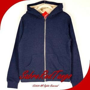 NWT HANNA ANDERSSON SHERPA LINED HOODIE JACKET NAVY HEATHER 90 3T 3