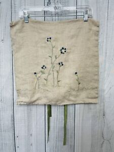 POTTERY BARN linen Pillow Cover Sham Chenille embroidered Flowers Boho 18x18""