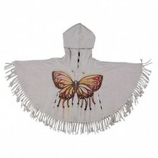 Paper Wings Fringed Poncho Butterfly Art Light Grey Marie Size 3 Brand News