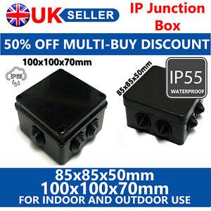 WATERPROOF JUNCTION BOX IP65 BLACK OUTDOOR ELECTRICAL PROTECTION - 50% DISCOUNT