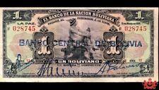 1911 El Banco De La Nacion Boliana 1 Boliviano 028745 - VF/EF -